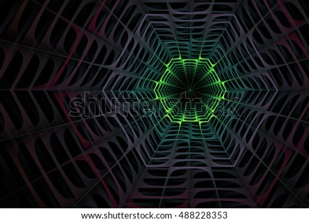 Psychedelic green and purple abstract woven flower / web design on black background