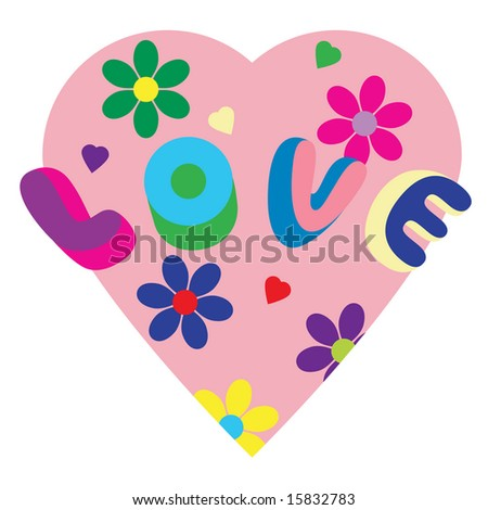 Psychedelic love heart illustration - stock photo