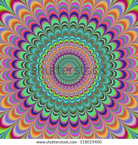 Psychedelic radial abstract illustration background
