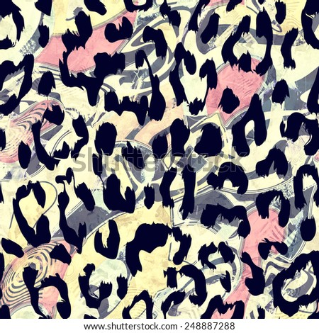 psychedelic raster leopard skin seamless repeatable pattern - stock photo