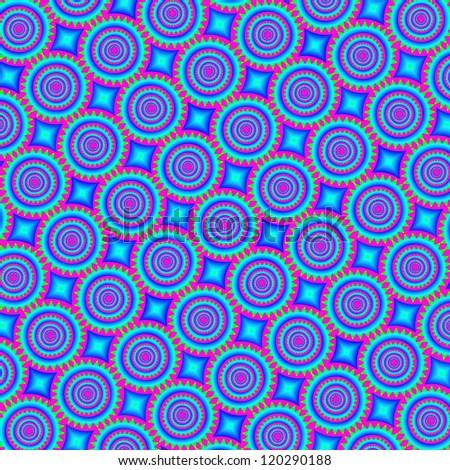 Psychedelic retro background - mandala, 60s or 70s style - stock photo