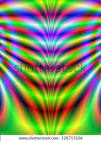 Psychedelic Ribs / Digital abstract fractal image with a psychedelic rib design in green, blue, red and yellow.