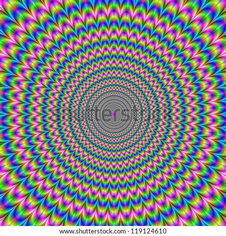 Psychedelic Rings/Digital fractal image with an abstract psychedelic ring design in yellow, pink and blue  producing an optical illusion of movement.