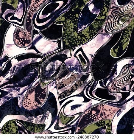 psychedelic seamless graffiti pattern - stock photo