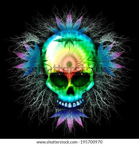 Psychedelic Skull Marijuana - stock photo