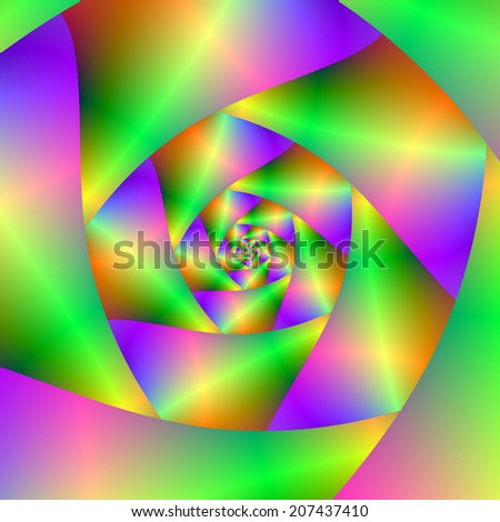Psychedelic Spiral / A digital abstract fractal image with a psychedelic spiral design on green, yellow, orange, blue, pink and violet.  - stock photo