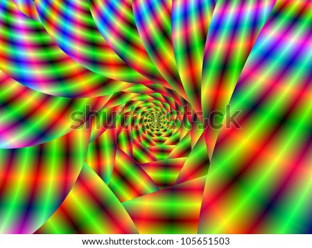 Psychedelic Spiral/Digital abstract fractal image with a psychedelic spiral design in green, red, blue and yellow.