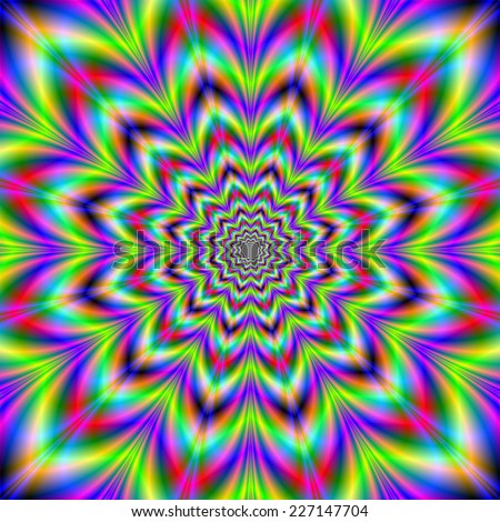 Psychedelic Star Flower / A digital abstract fractal image with a psychedelic star flower design in blue, yellow, green, pink and red.