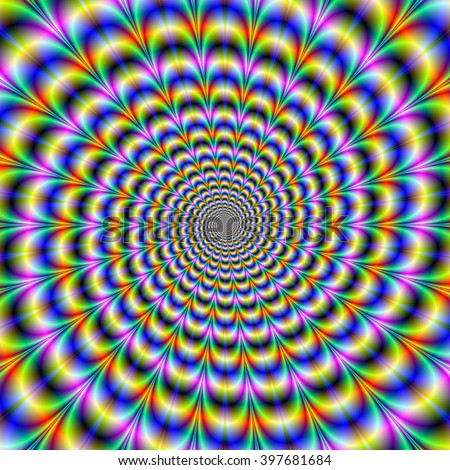 Psychedelic Swirl / An abstract fractal image with a psychedelic spiral design in blue, yellow, violet and green - stock photo