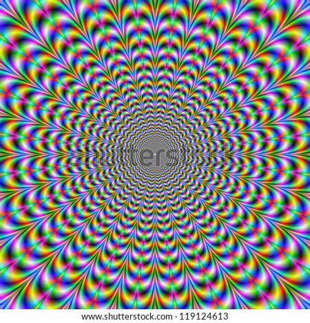 Psychedelic Web/Digital abstract image with a psychedelic circular web pattern of blue red yellow green and pink producing an optical illusion of movement.