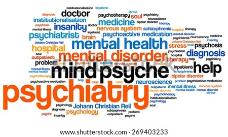 Psychiatry issues and concepts word cloud illustration. Word collage concept.