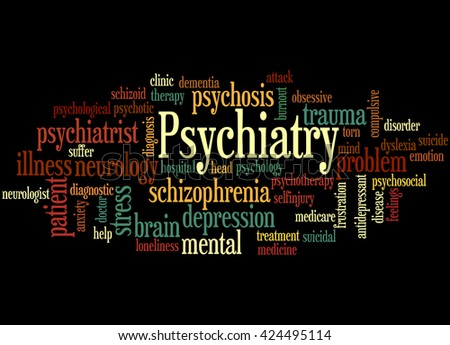 Psychiatry, word cloud concept on black background. - stock photo