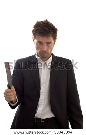 Psycho business man with fake blood on meat cleaver - stock photo