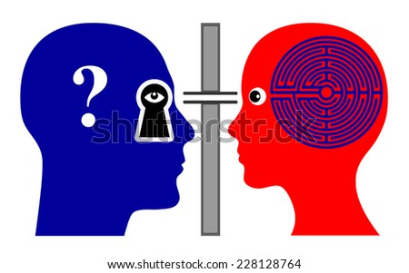 Psychoanalyst Concept. Psychologist analyzing female patient rising many questions - stock photo