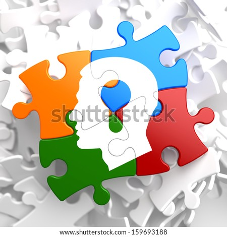 Psychological Concept - Profile of Head with a Keyhole Located on Multicolor Puzzle. - stock photo