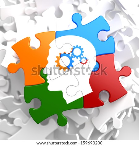 Psychological Concept - Profile of Head with Cogwheel Gear Mechanism Located on Multicolor Puzzle. - stock photo