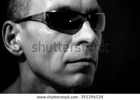 psychological portrait of an adult and courageous men - stock photo