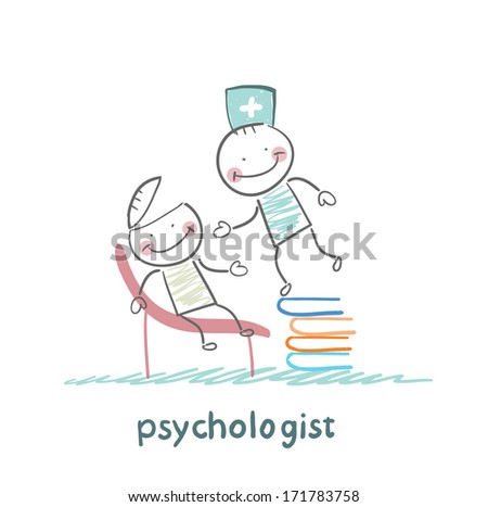 psychologist is on a stack of books and looks inside the patient's head - stock photo