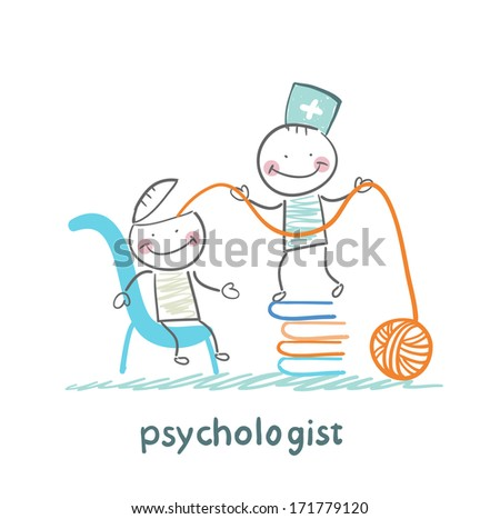 psychologist is on a stack of books and pulls the threads of the patient's head - stock photo