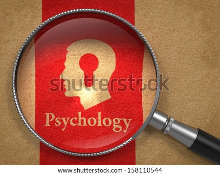 Psychology Concept: Magnifying Glass with Word Psychology and Icon of Head with a Keyhole on Old Paper with Red Vertical Line Background. - stock photo