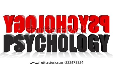 Psychology text black and red with white background - stock photo
