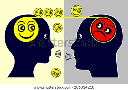 Psychotherapy. Concept sign of a psychotherapist treating a patient by talking with him - stock photo