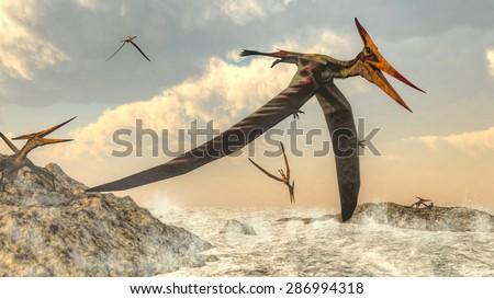 Pteranodon bird flying upon ocean - 3D render - stock photo