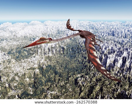 Pterosaur Quetzalcoatlus Computer generated 3D illustration - stock photo