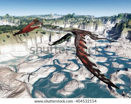 Pterosaur Quetzalcoatlus Computer generated 3D illustration - stock photo
