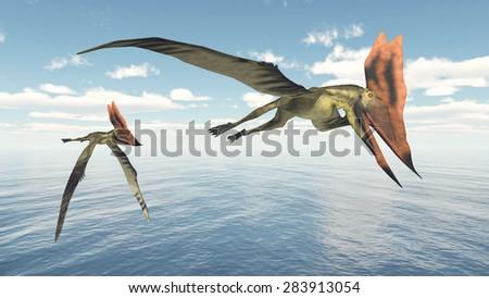Pterosaur Thalassodromeus Computer generated 3D illustration - stock photo