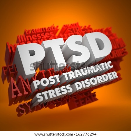 PTSD - Posttraumatic Stress Disorder - the Words in White Color on Cloud of Red Words on Orange Background. - stock photo