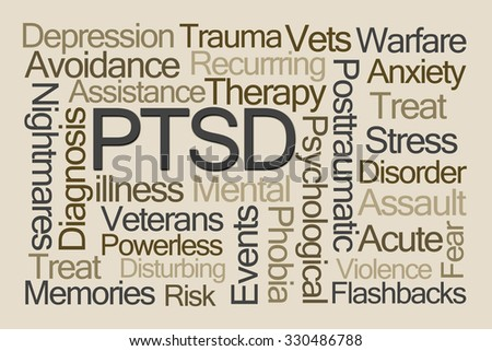 PTSD Word Cloud on Brown Background - stock photo