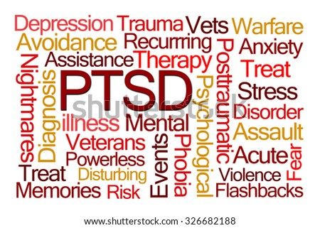 PTSD Word Cloud on White Background - stock photo