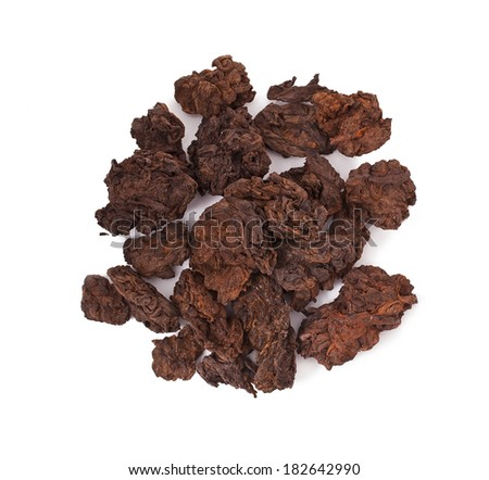 Pu-erh chinese tea isolated on white background  - stock photo