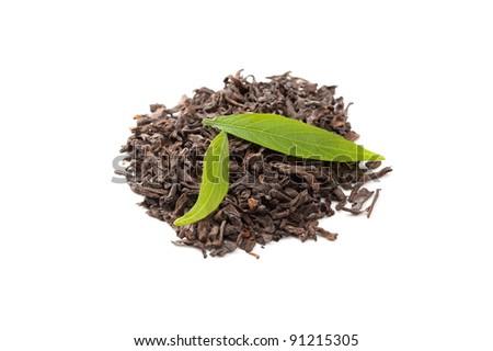 Pu-erh tea and fresh tae leaves - stock photo