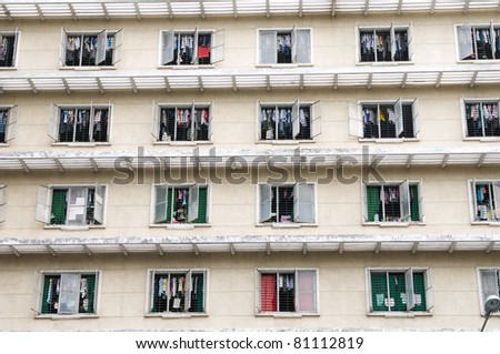 public apartment block in Ho Chi Minh City, Vietnam - stock photo
