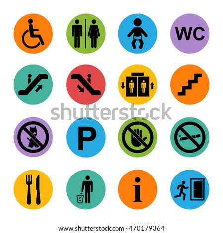 Public basic icons set isolated on a color square