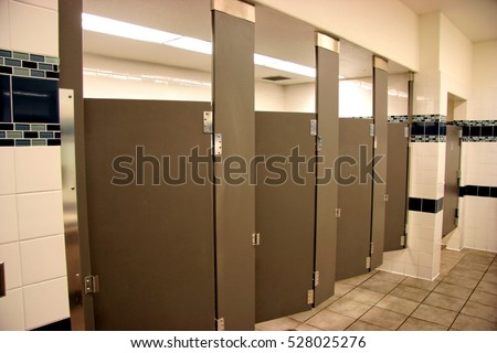 Bathroom Stall Office public bathroom stalls four open brown stock photo 528025276