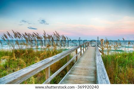 Public Beach access on Kure Beach on North Carolina's Atlantic coast. - stock photo