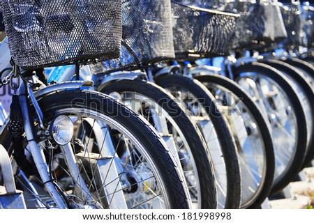 Public bicycle transportation system - stock photo