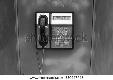 public cable phone in city - stock photo