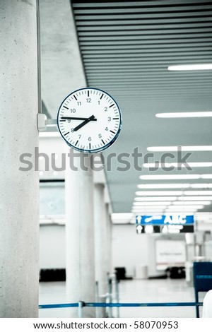 Public Clock In Airport With Copyspace