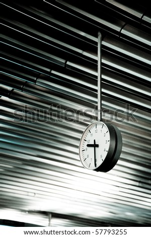 Public Clock In Frankfurt Airport With Copyspace - stock photo