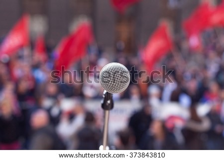Public demonstration. Protest. - stock photo