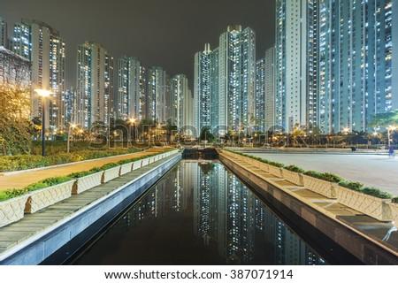 public estate in Hong Kong at night - stock photo