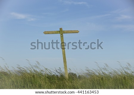 Public footpath sign. Very weathered old wooden sign showing opposite ways. long grass full width of picture and blue sky with faint clouds.