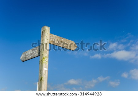Public Footpath Wooden Sign with Copy Space - stock photo