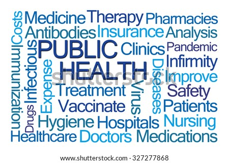 Public Health Word Cloud on White Background - stock photo