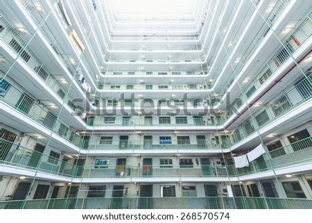 Public housing in Hong Kong - stock photo
