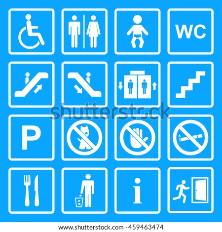 Public icon set.Service signs.White public building sign isolated on a blue  background